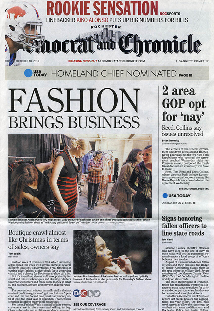 Fashion Brings Business, Democrat and Chronicle article